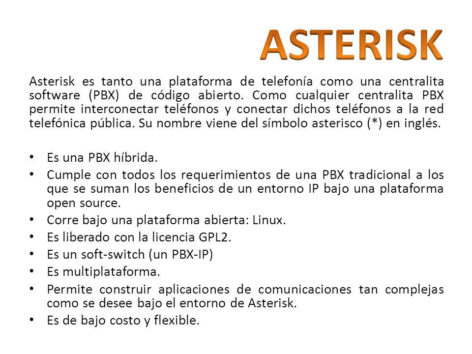 Asterisk es tanto una plataforma de telefonía como una centralita software (PBX) de código abierto. Como cualquier centralita PBX permite interconecta