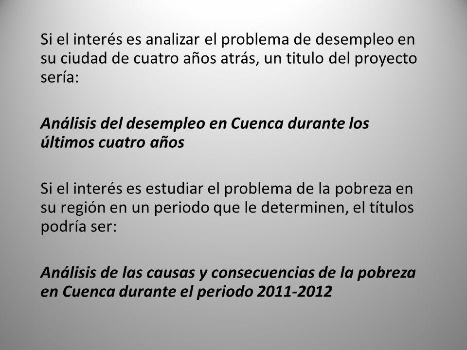 Si el interés es analizar el problema de desempleo en su ciudad de cuatro años atrás, un titulo del proyecto sería: Análisis del desempleo en Cuenca d