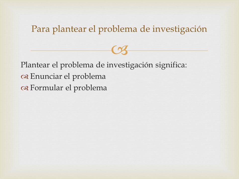 Plantear el problema de investigación significa: Enunciar el problema Formular el problema Para plantear el problema de investigación