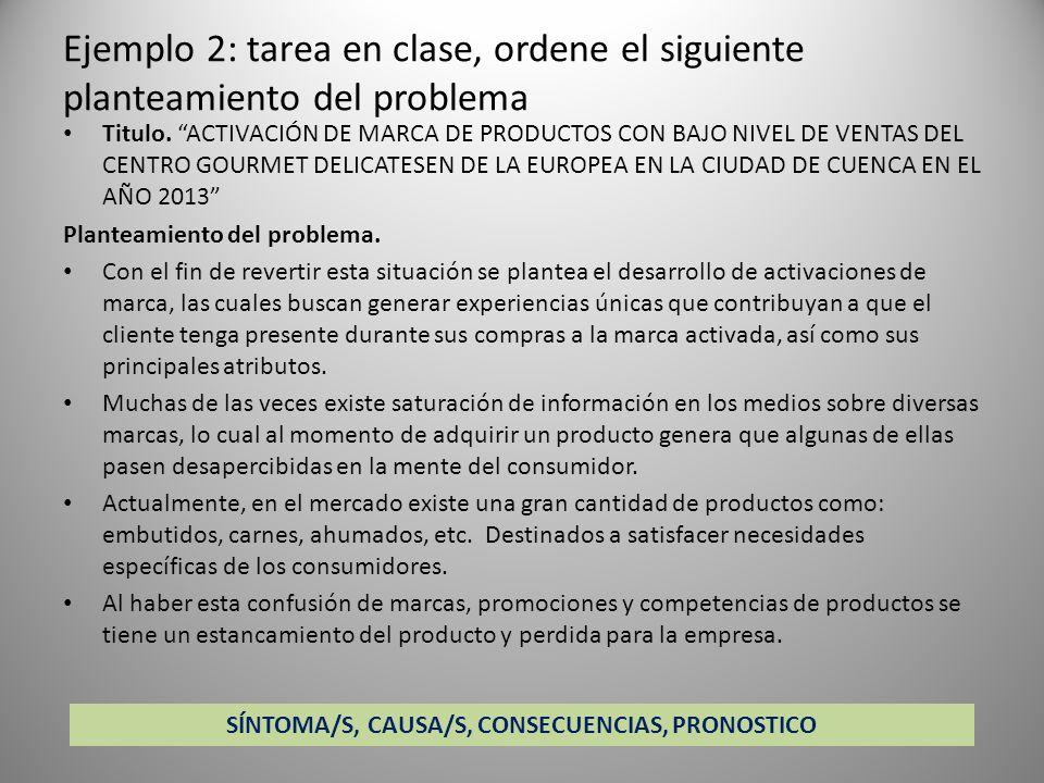 Ejemplo 2: tarea en clase, ordene el siguiente planteamiento del problema Titulo. ACTIVACIÓN DE MARCA DE PRODUCTOS CON BAJO NIVEL DE VENTAS DEL CENTRO