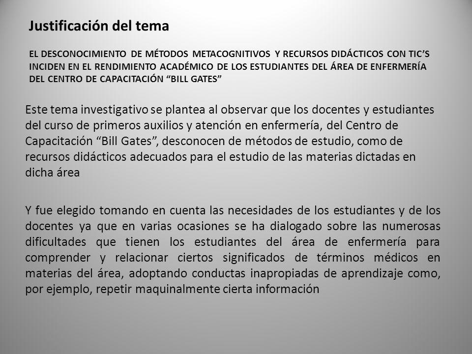 Justificación del tema EL DESCONOCIMIENTO DE MÉTODOS METACOGNITIVOS Y RECURSOS DIDÁCTICOS CON TICS INCIDEN EN EL RENDIMIENTO ACADÉMICO DE LOS ESTUDIANTES DEL ÁREA DE ENFERMERÍA DEL CENTRO DE CAPACITACIÓN BILL GATES Este tema investigativo se plantea al observar que los docentes y estudiantes del curso de primeros auxilios y atención en enfermería, del Centro de Capacitación Bill Gates, desconocen de métodos de estudio, como de recursos didácticos adecuados para el estudio de las materias dictadas en dicha área Y fue elegido tomando en cuenta las necesidades de los estudiantes y de los docentes ya que en varias ocasiones se ha dialogado sobre las numerosas dificultades que tienen los estudiantes del área de enfermería para comprender y relacionar ciertos significados de términos médicos en materias del área, adoptando conductas inapropiadas de aprendizaje como, por ejemplo, repetir maquinalmente cierta información