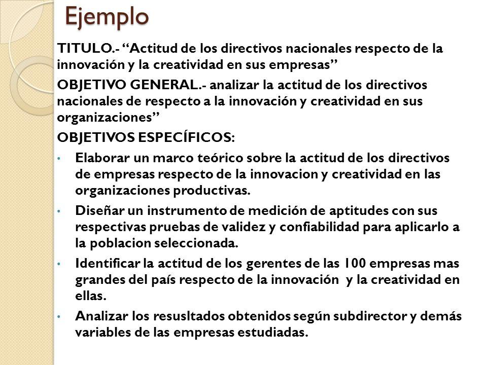 Ejemplo TITULO.- Actitud de los directivos nacionales respecto de la innovación y la creatividad en sus empresas OBJETIVO GENERAL.- analizar la actitud de los directivos nacionales de respecto a la innovación y creatividad en sus organizaciones OBJETIVOS ESPECÍFICOS: Elaborar un marco teórico sobre la actitud de los directivos de empresas respecto de la innovacion y creatividad en las organizaciones productivas.