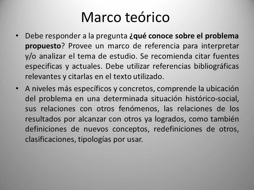 Marco teórico Debe responder a la pregunta ¿qué conoce sobre el problema propuesto? Provee un marco de referencia para interpretar y/o analizar el tem