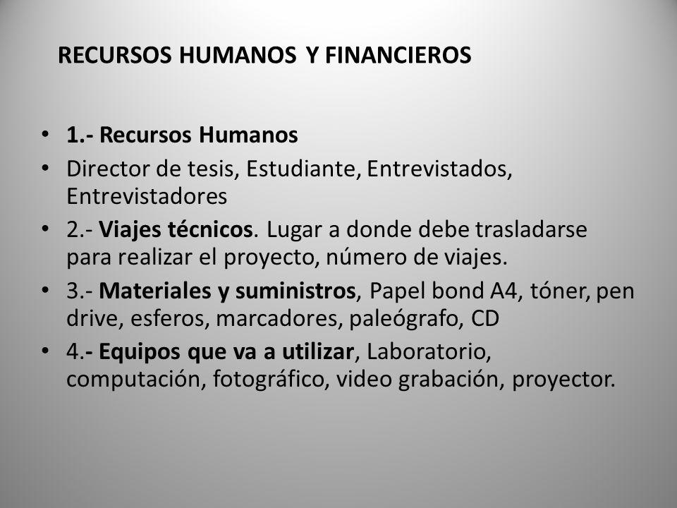 1.- Recursos Humanos Director de tesis, Estudiante, Entrevistados, Entrevistadores 2.- Viajes técnicos. Lugar a donde debe trasladarse para realizar e