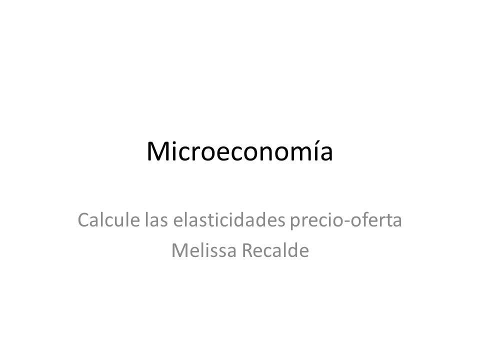 Microeconomía Calcule las elasticidades precio-oferta Melissa Recalde