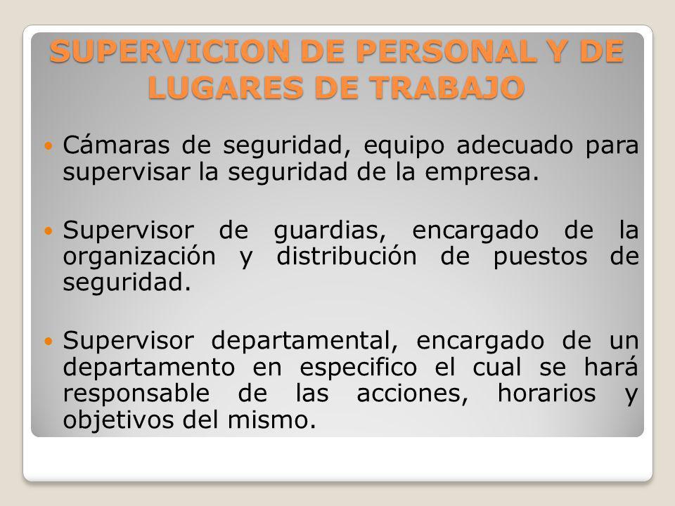 SUPERVICION DE PERSONAL Y DE LUGARES DE TRABAJO Cámaras de seguridad, equipo adecuado para supervisar la seguridad de la empresa. Supervisor de guardi