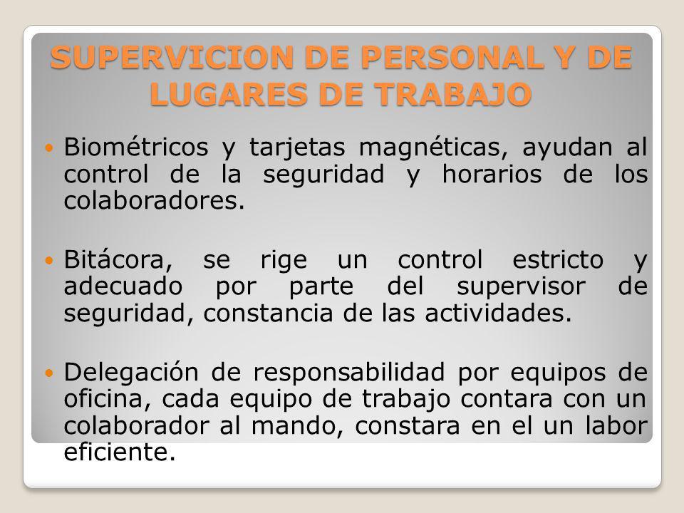 SUPERVICION DE PERSONAL Y DE LUGARES DE TRABAJO Biométricos y tarjetas magnéticas, ayudan al control de la seguridad y horarios de los colaboradores.