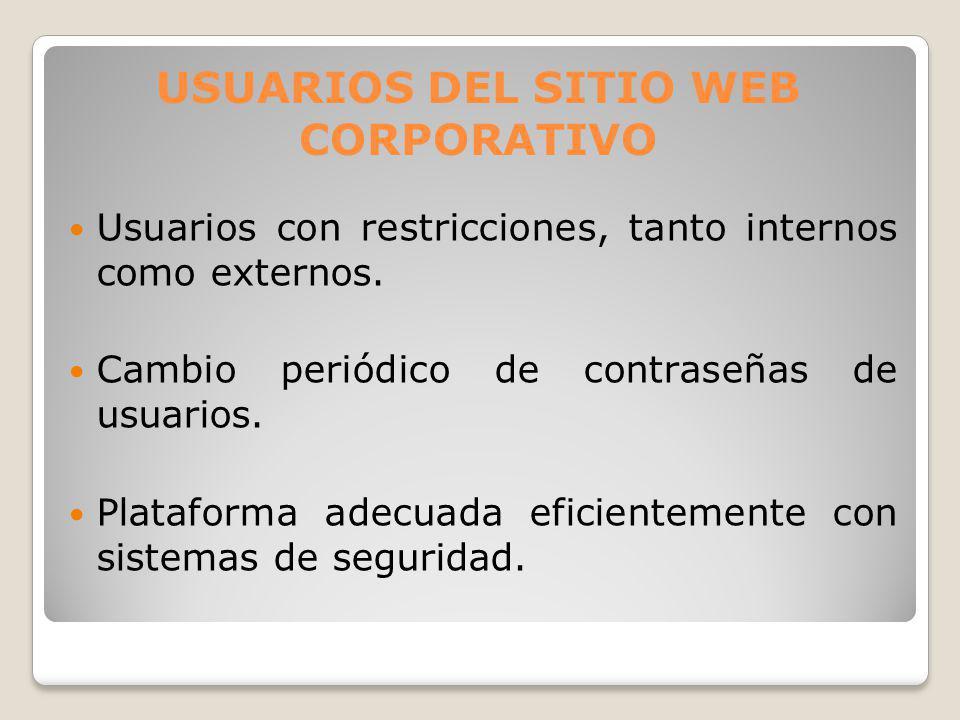 Usuarios con restricciones, tanto internos como externos. Cambio periódico de contraseñas de usuarios. Plataforma adecuada eficientemente con sistemas