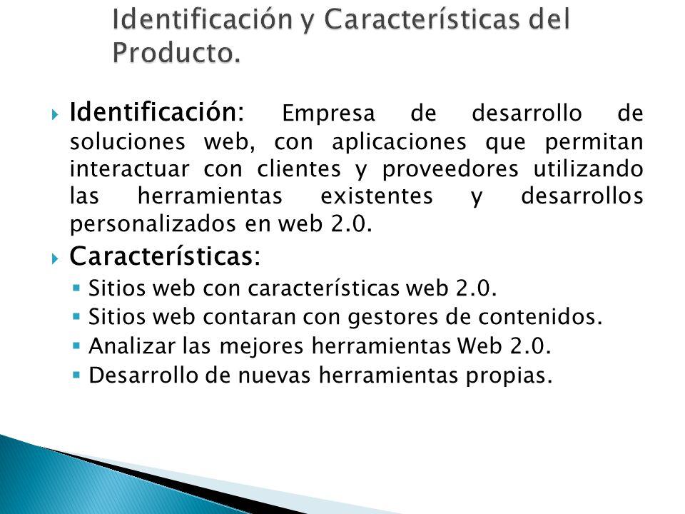 Identificación: Empresa de desarrollo de soluciones web, con aplicaciones que permitan interactuar con clientes y proveedores utilizando las herramien