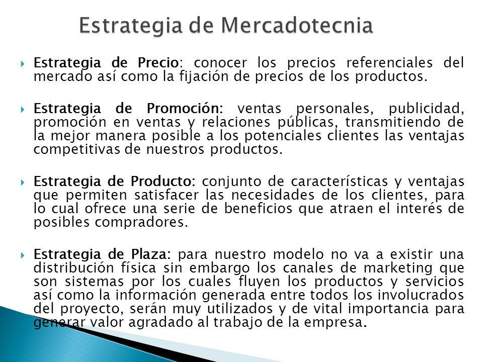 Estrategia de Precio: conocer los precios referenciales del mercado así como la fijación de precios de los productos. Estrategia de Promoción: ventas