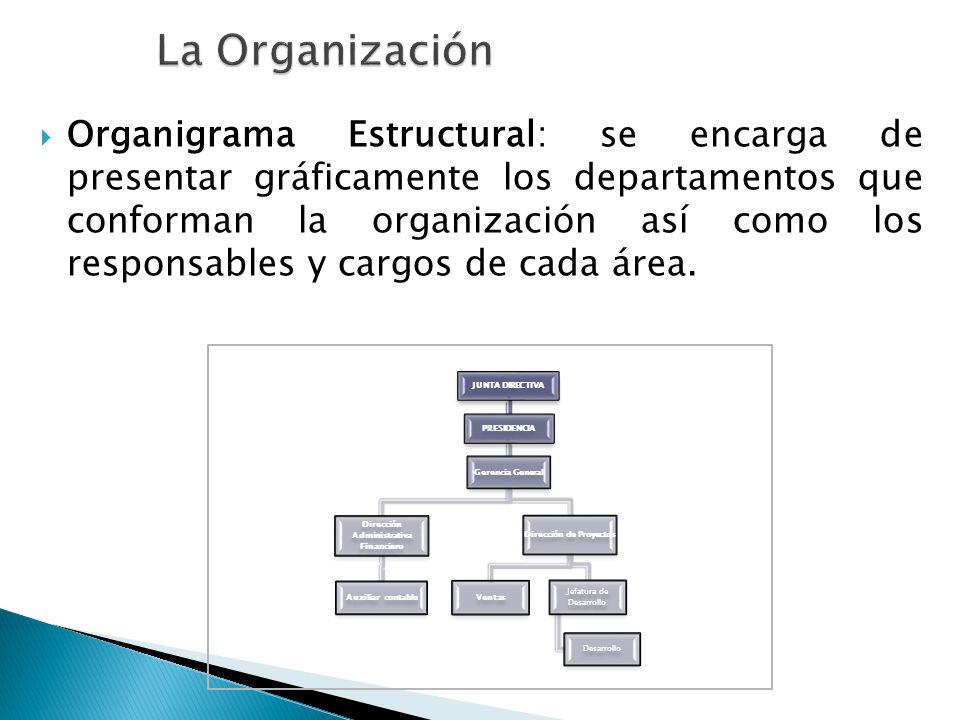Organigrama Estructural: se encarga de presentar gráficamente los departamentos que conforman la organización así como los responsables y cargos de ca