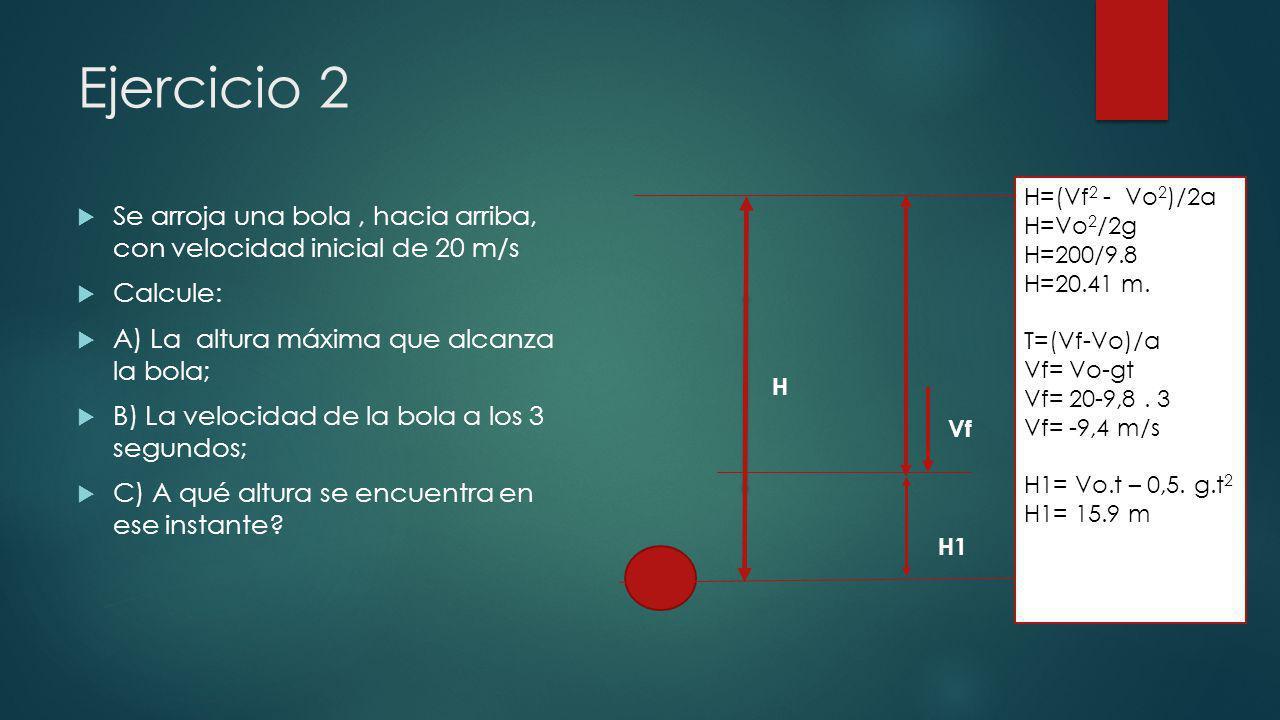 Ejercicio 2 Se arroja una bola, hacia arriba, con velocidad inicial de 20 m/s Calcule: A) La altura máxima que alcanza la bola; B) La velocidad de la