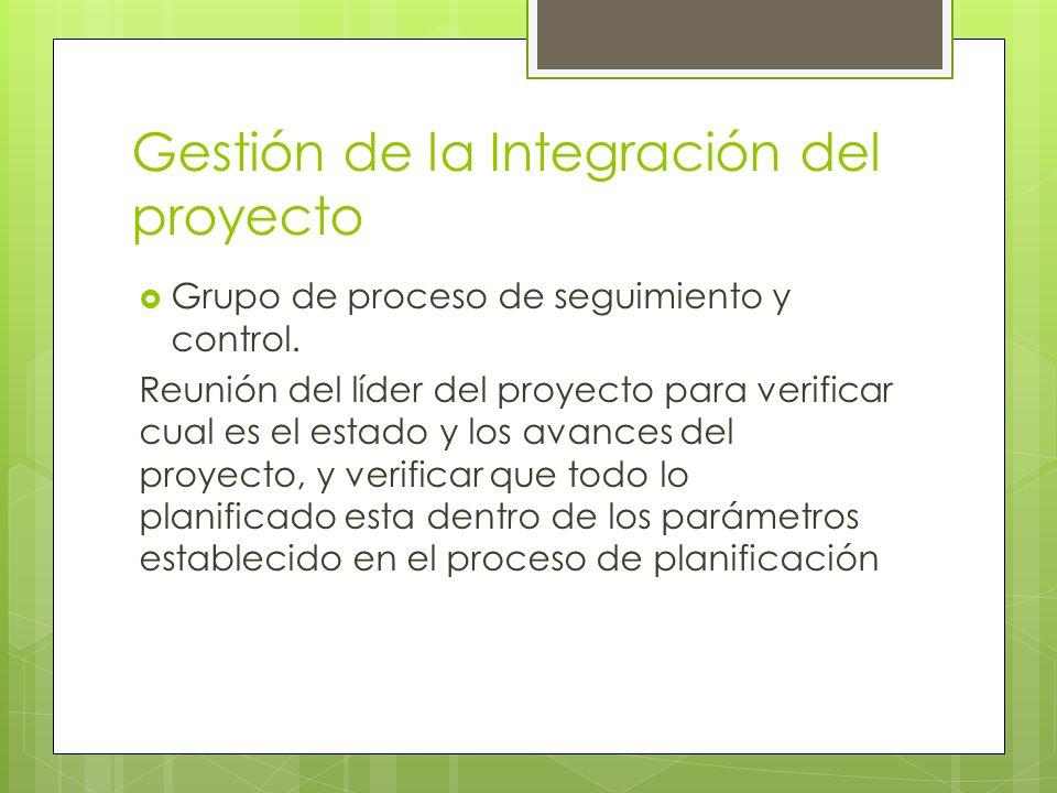 Gestión de la Integración del proyecto Grupo de proceso de seguimiento y control. Reunión del líder del proyecto para verificar cual es el estado y lo