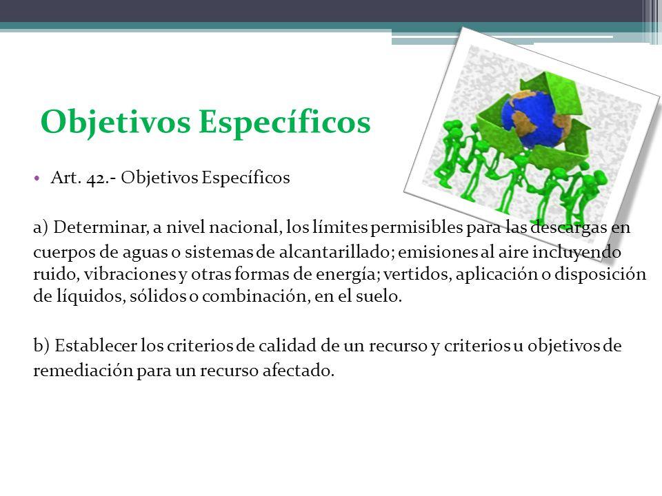 Objetivos Específicos Art. 42.- Objetivos Específicos a) Determinar, a nivel nacional, los límites permisibles para las descargas en cuerpos de aguas