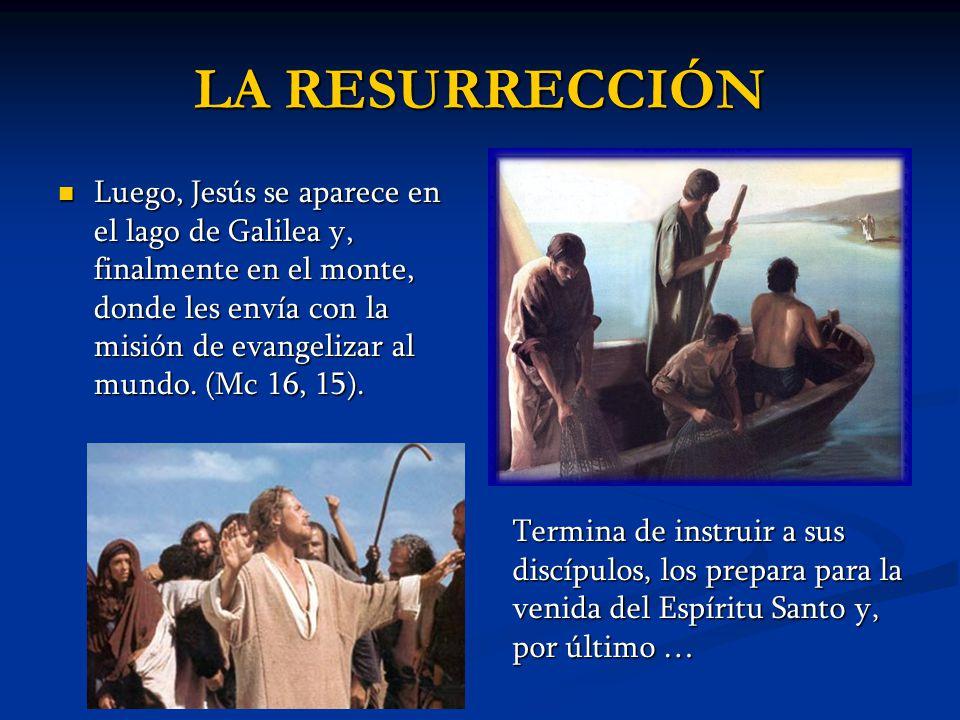 Luego, Jesús se aparece en el lago de Galilea y, finalmente en el monte, donde les envía con la misión de evangelizar al mundo. (Mc 16, 15). Luego, Je