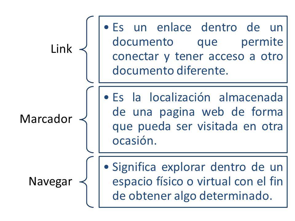Link Es un enlace dentro de un documento que permite conectar y tener acceso a otro documento diferente.