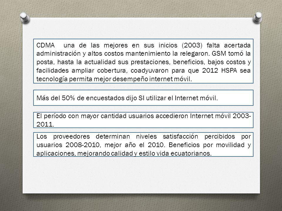 CDMA una de las mejores en sus inicios (2003) falta acertada administración y altos costos mantenimiento la relegaron. GSM tomó la posta, hasta la act