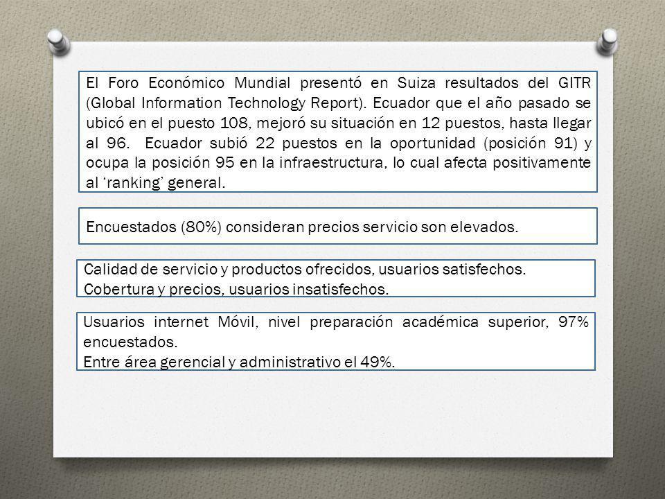 El Foro Económico Mundial presentó en Suiza resultados del GITR (Global Information Technology Report). Ecuador que el año pasado se ubicó en el puest