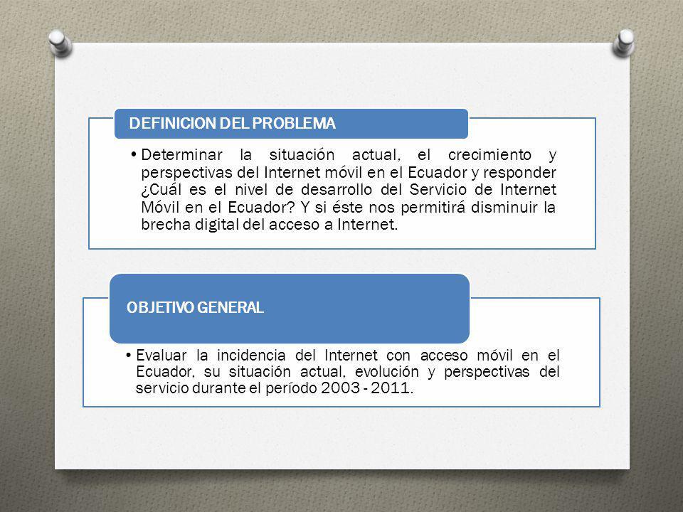Determinar la situación actual, el crecimiento y perspectivas del Internet móvil en el Ecuador y responder ¿Cuál es el nivel de desarrollo del Servici