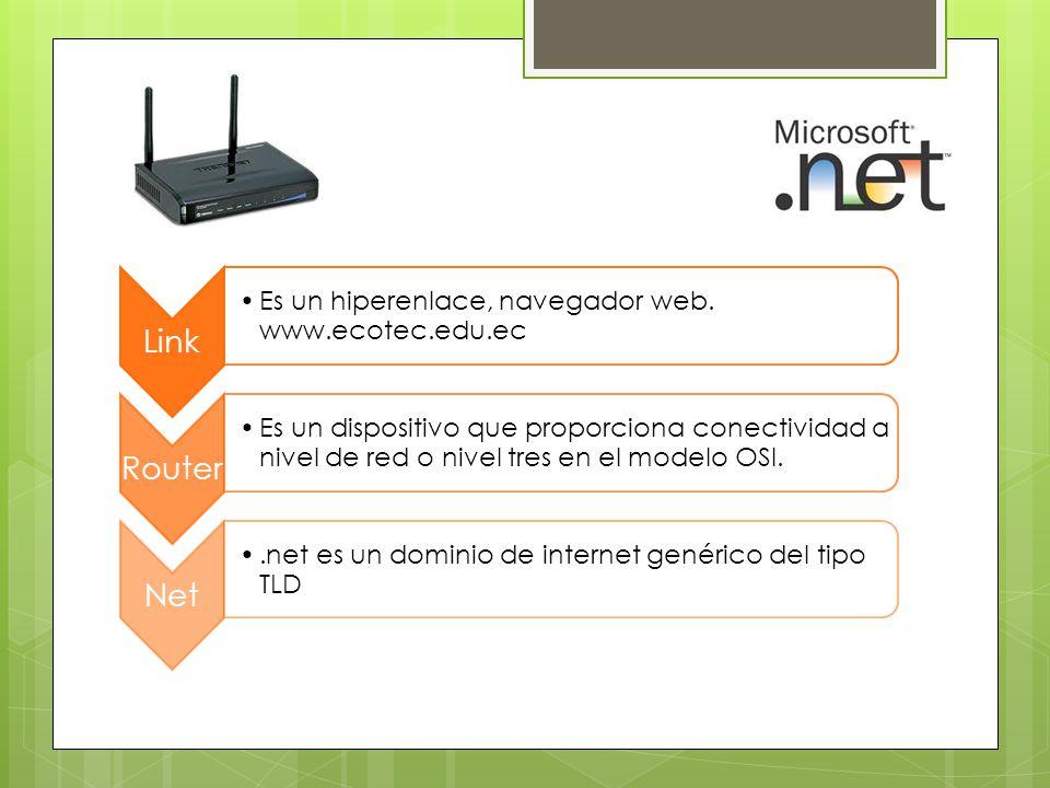 Link Es un hiperenlace, navegador web. www.ecotec.edu.ec Router Es un dispositivo que proporciona conectividad a nivel de red o nivel tres en el model