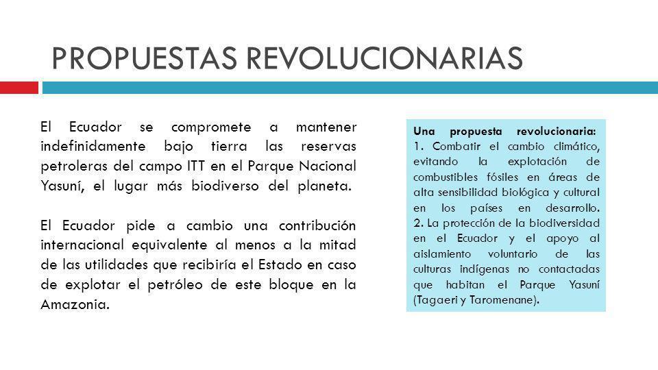 PROPUESTAS REVOLUCIONARIAS El Ecuador se compromete a mantener indefinidamente bajo tierra las reservas petroleras del campo ITT en el Parque Nacional