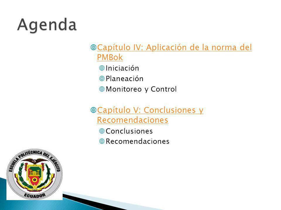 Capítulo IV: Aplicación de la norma del PMBok Capítulo IV: Aplicación de la norma del PMBok Iniciación Planeación Monitoreo y Control Capítulo V: Conc