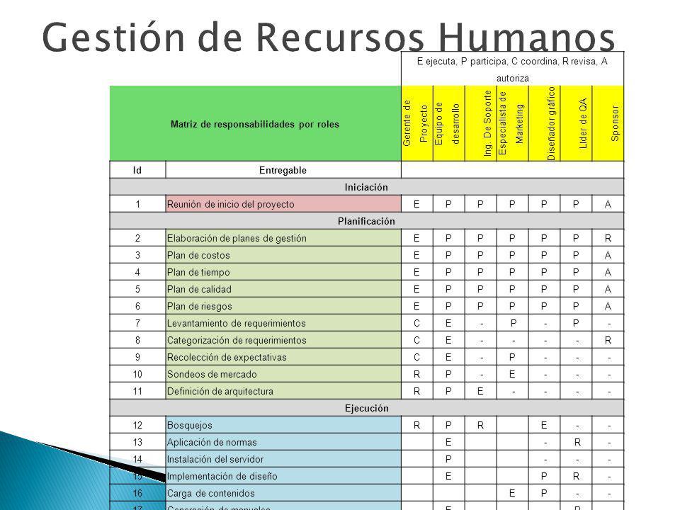 E ejecuta, P participa, C coordina, R revisa, A autoriza Matriz de responsabilidades por roles Gerente de Proyecto Equipo de desarrollo Ing. De Soport