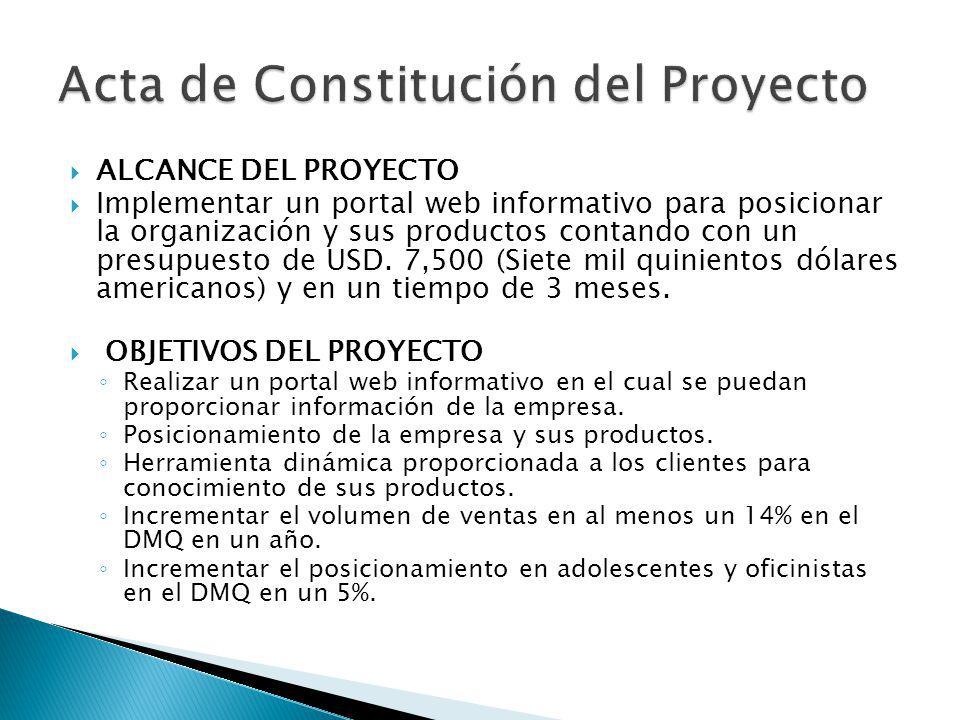 ALCANCE DEL PROYECTO Implementar un portal web informativo para posicionar la organización y sus productos contando con un presupuesto de USD. 7,500 (