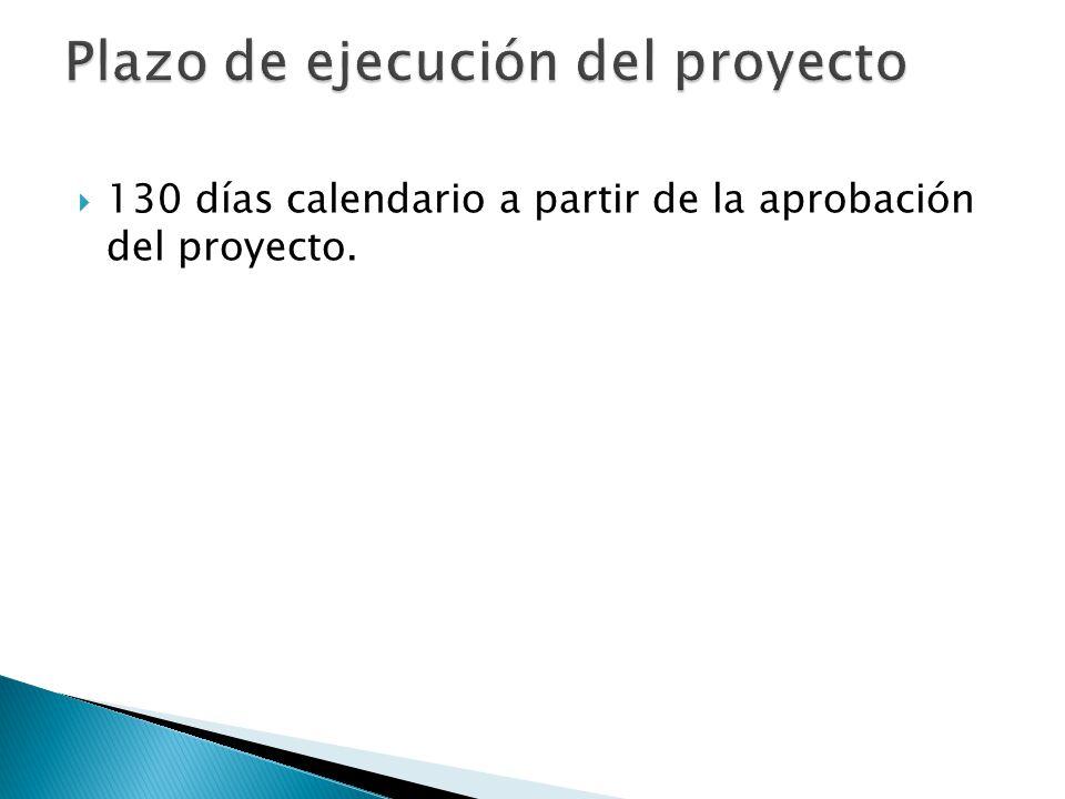 130 días calendario a partir de la aprobación del proyecto.