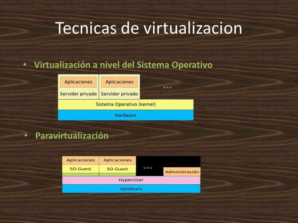Tecnicas de virtualizacion Paravirtualización Virtualización a nivel del Sistema Operativo