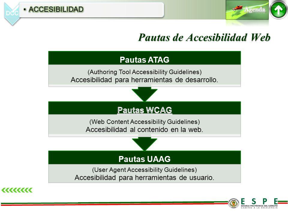 Pautas de Accesibilidad Web Pautas UAAG (User Agent Accessibility Guidelines) Accesibilidad para herramientas de usuario.