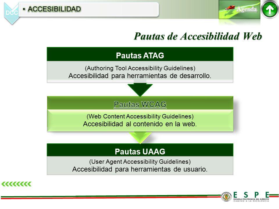 Pautas de Accesibilidad Web Pautas UAAG (User Agent Accessibility Guidelines) Accesibilidad para herramientas de usuario. (Web Content Accessibility G