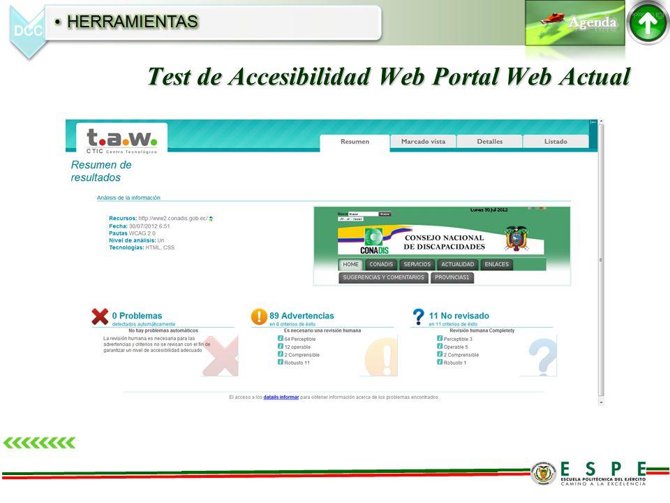 Test de Accesibilidad Web Portal Web Actual