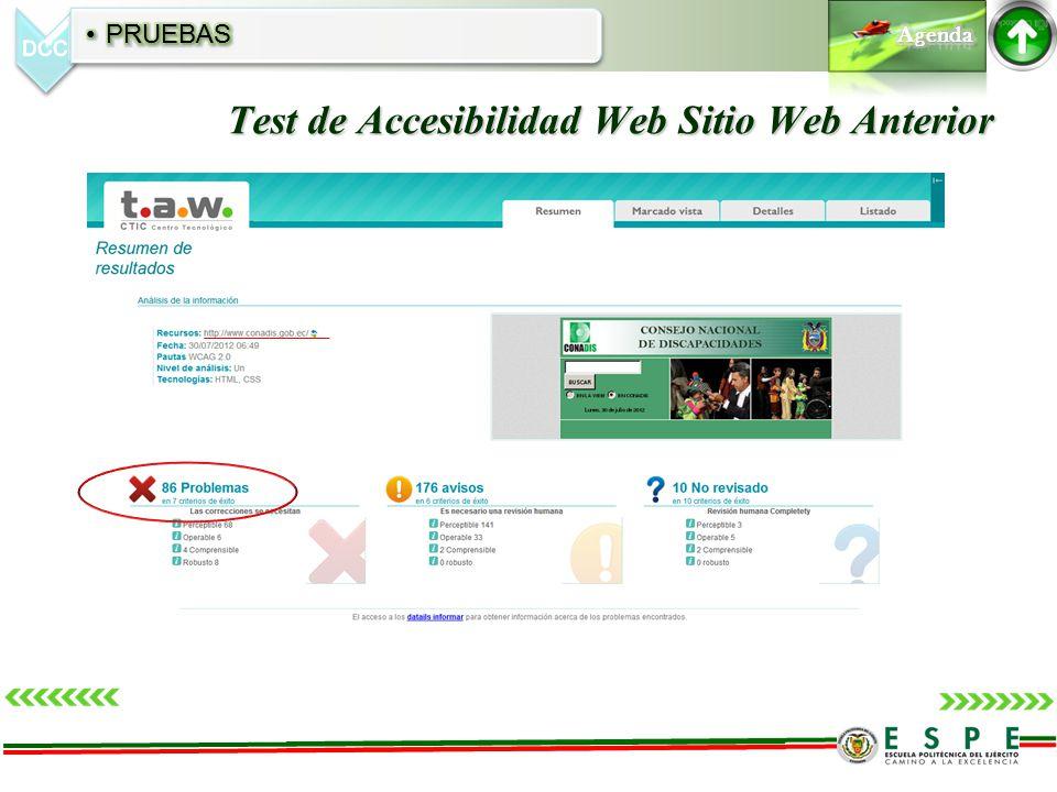 Test de Accesibilidad Web Sitio Web Anterior