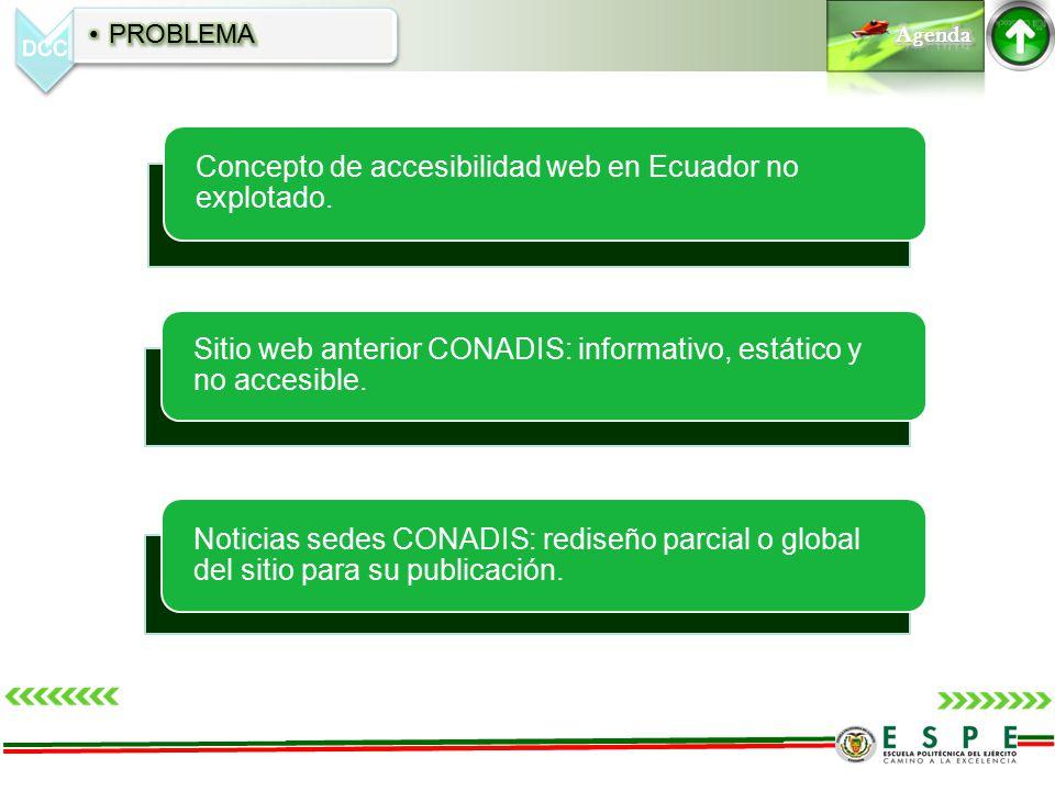 Concepto de accesibilidad web en Ecuador no explotado. Sitio web anterior CONADIS: informativo, estático y no accesible. Noticias sedes CONADIS: redis