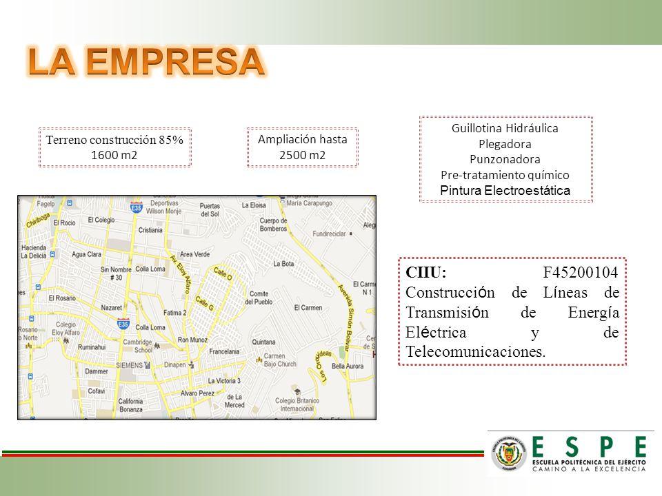 Terreno construcción 85% 1600 m2 CIIU: F45200104 Construcci ó n de L í neas de Transmisi ó n de Energ í a El é ctrica y de Telecomunicaciones.
