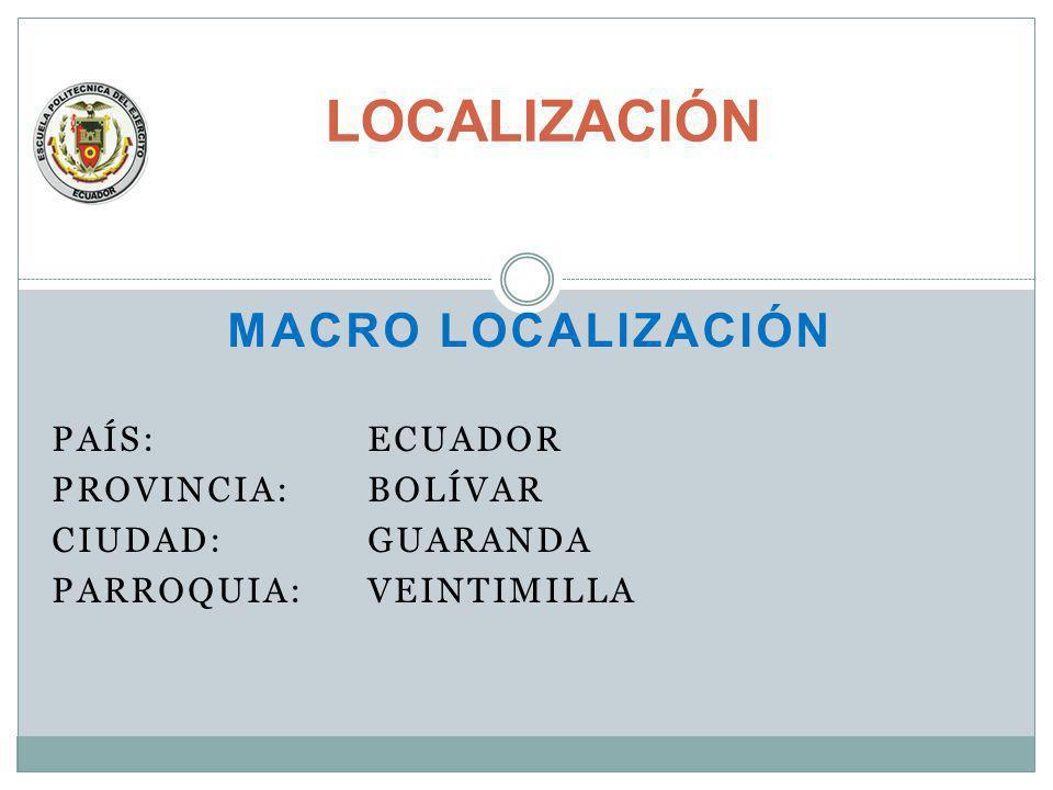 MACRO LOCALIZACIÓN PAÍS: ECUADOR PROVINCIA: BOLÍVAR CIUDAD: GUARANDA PARROQUIA: VEINTIMILLA LOCALIZACIÓN