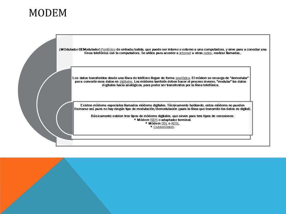 MODEM (MOdulador-DEModulador) Periférico de entrada/salida, que puede ser interno o externo a una computadora, y sirve para a conectar una línea telefónica con la computadora.