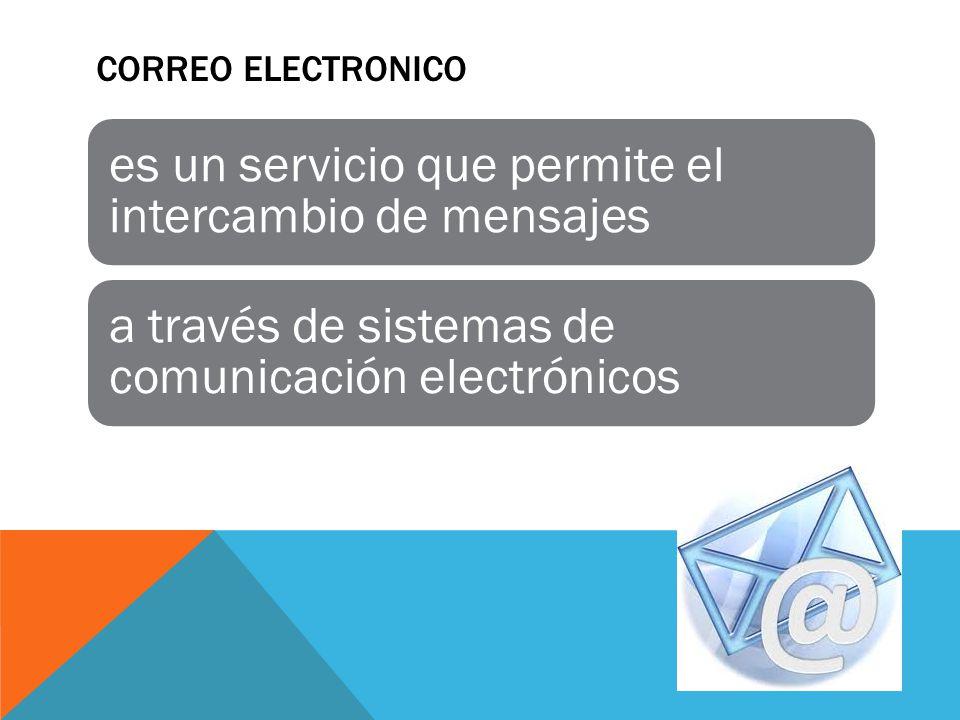 CORREO ELECTRONICO es un servicio que permite el intercambio de mensajes a través de sistemas de comunicación electrónicos