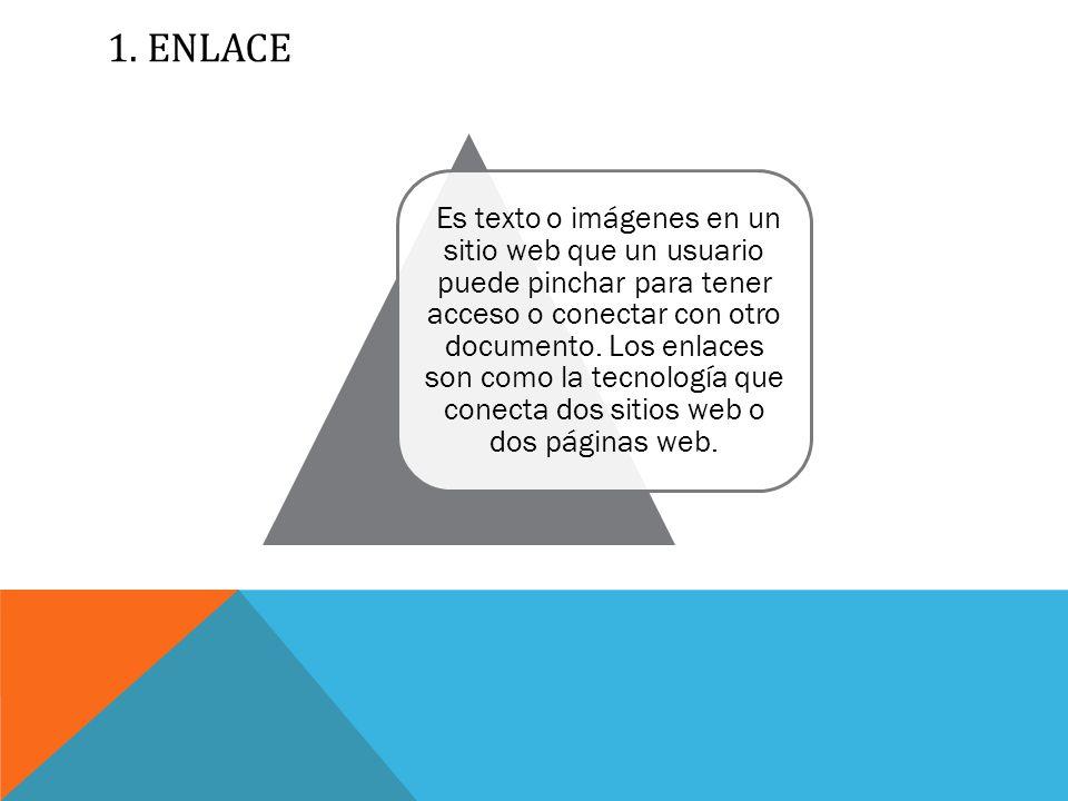 1.ENLACE Es texto o imágenes en un sitio web que un usuario puede pinchar para tener acceso o conectar con otro documento.