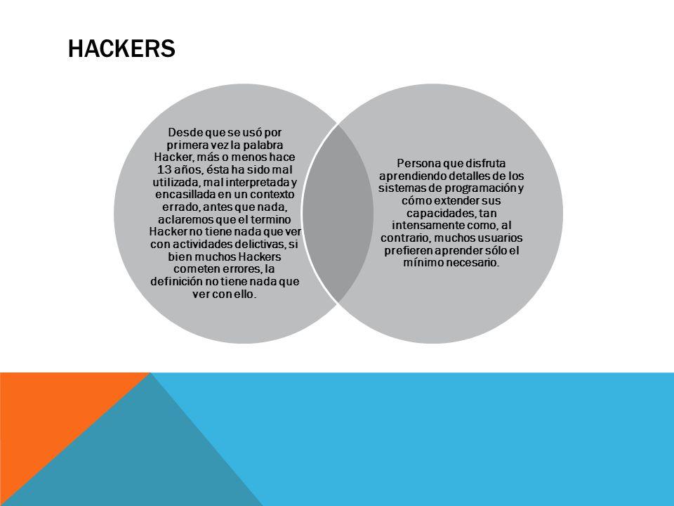 HACKERS Desde que se usó por primera vez la palabra Hacker, más o menos hace 13 años, ésta ha sido mal utilizada, mal interpretada y encasillada en un contexto errado, antes que nada, aclaremos que el termino Hacker no tiene nada que ver con actividades delictivas, si bien muchos Hackers cometen errores, la definición no tiene nada que ver con ello.