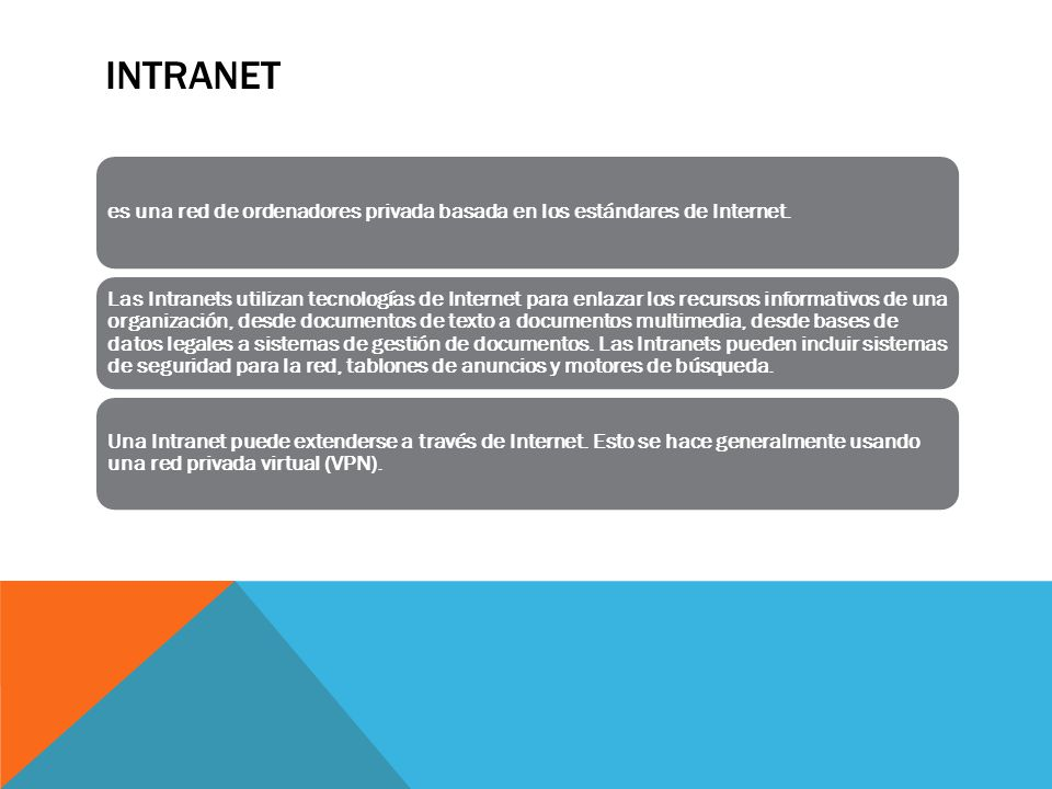 INTRANET es una red de ordenadores privada basada en los estándares de Internet.