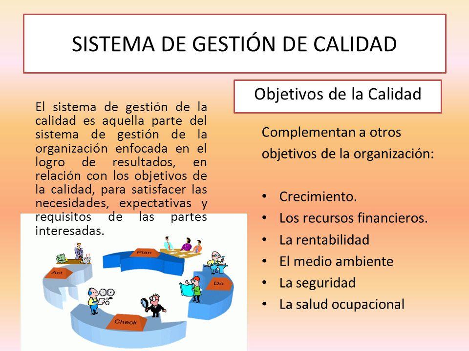 SISTEMA DE GESTIÓN DE CALIDAD El sistema de gestión de la calidad es aquella parte del sistema de gestión de la organización enfocada en el logro de r