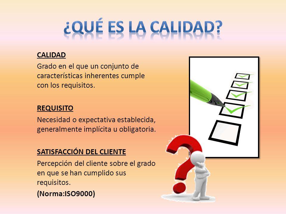 CALIDAD Grado en el que un conjunto de características inherentes cumple con los requisitos. REQUISITO Necesidad o expectativa establecida, generalmen