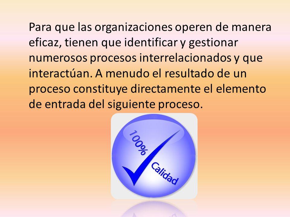 Para que las organizaciones operen de manera eficaz, tienen que identificar y gestionar numerosos procesos interrelacionados y que interactúan. A menu