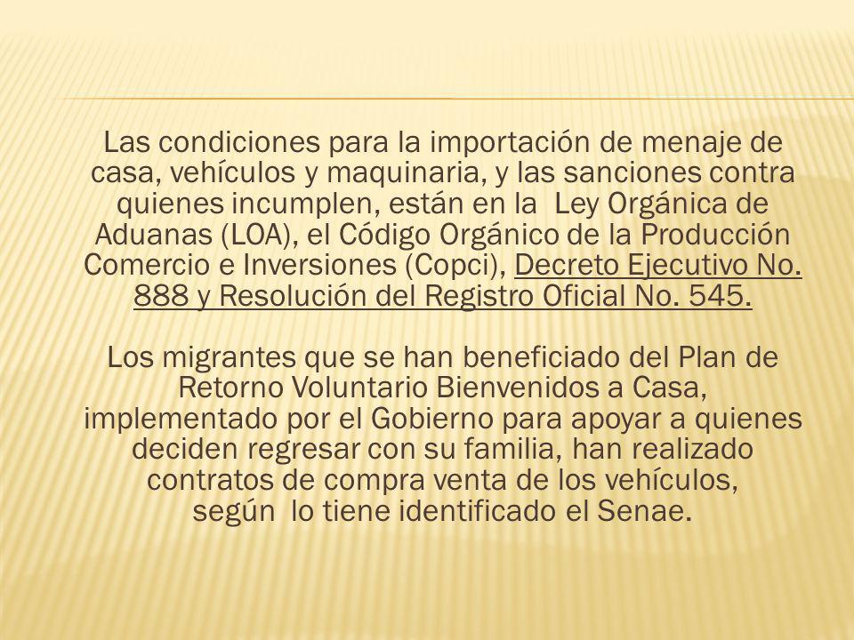 Las condiciones para la importación de menaje de casa, vehículos y maquinaria, y las sanciones contra quienes incumplen, están en la Ley Orgánica de A