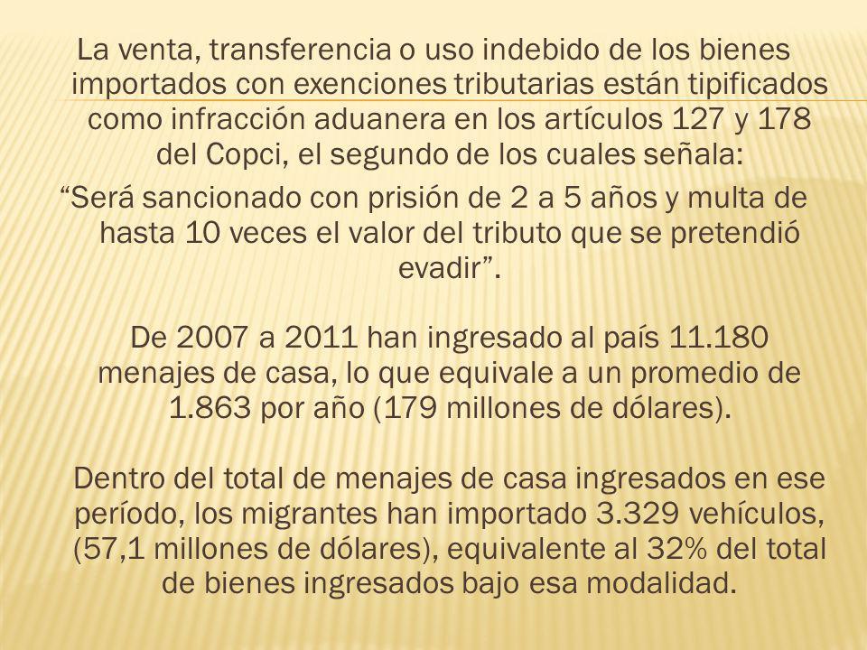 La venta, transferencia o uso indebido de los bienes importados con exenciones tributarias están tipificados como infracción aduanera en los artículos