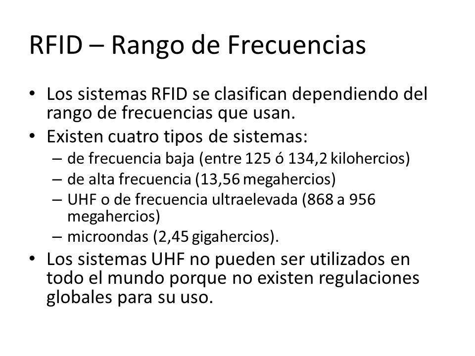 RFID – Rango de Frecuencias Los sistemas RFID se clasifican dependiendo del rango de frecuencias que usan. Existen cuatro tipos de sistemas: – de frec