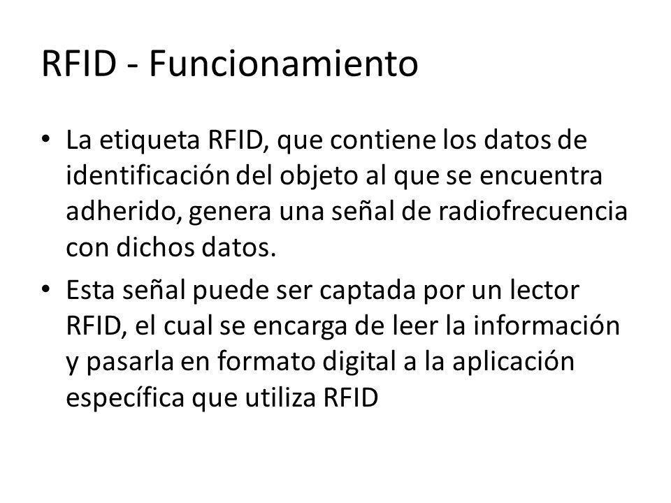 RFID - Funcionamiento La etiqueta RFID, que contiene los datos de identificación del objeto al que se encuentra adherido, genera una señal de radiofre