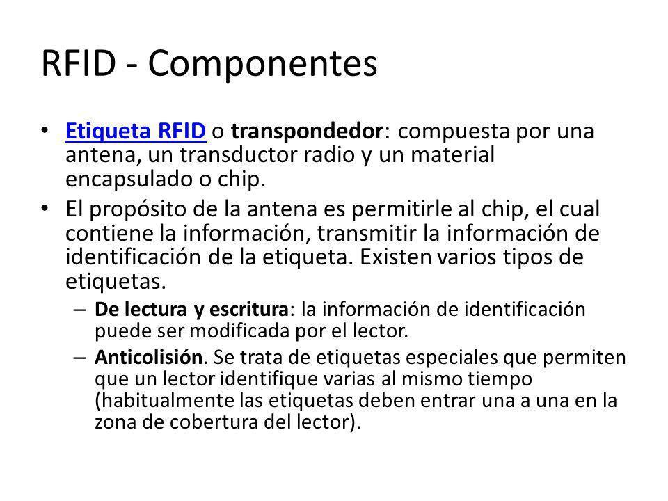 RFID - Componentes Etiqueta RFID o transpondedor: compuesta por una antena, un transductor radio y un material encapsulado o chip. Etiqueta RFID El pr